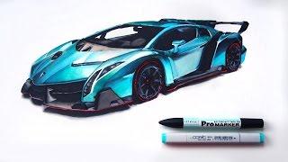 getlinkyoutube.com-Lamborghini veneno | Marker drawing