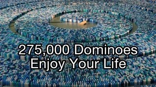 getlinkyoutube.com-275,000 Dominoes - Enjoy Your Life (Guinness World Record - Most dominoes toppled in a spiral)