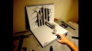 getlinkyoutube.com-Speed Drawing【21】- How to draw 3D ART - 3Dアートの制作風景