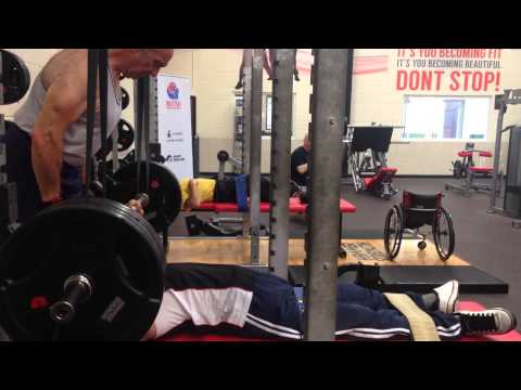 Arnies Disabled Powerlifting Club - Abdul stability benching 200kg