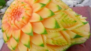 getlinkyoutube.com-แกะสลักมะละกอลายผสม แบบที่ 1 Papaya Carving 1