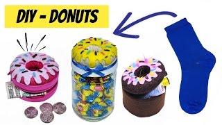 DIY- Como Fazer Donuts de meia - Niqueleira, Baleiro e Porta Treco de Donuts