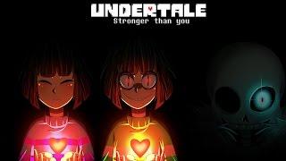 getlinkyoutube.com-Undertale - Stronger than you - Frisk/Chara & Sans trio [Lyric video]