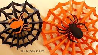 getlinkyoutube.com-Decoración para Halloween/Día de los Muertos, Tela de Araña, Paper spiderweb, Halloween Decoration