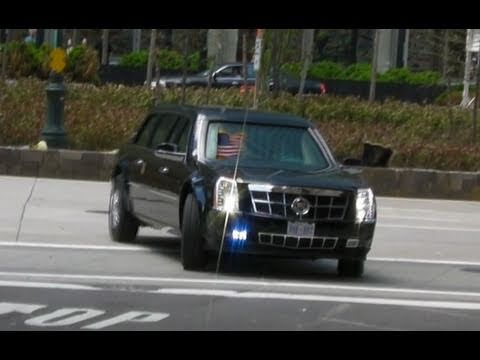 President Obama Motorcade in New York Arriving at Ground Zero, World Trade Center 2011