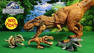 getlinkyoutube.com-Jurassic World 3 Chompers Mosasaurus, T-Rex , Dilophosaurus Unboxing, Review By WD Toys