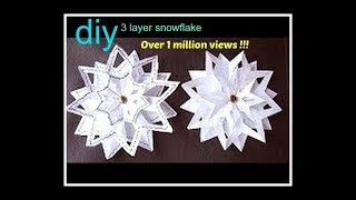getlinkyoutube.com-SNOWFLAKE #4, 3 layer snowflake, paper folding, Christmas star ornament, paper crafts