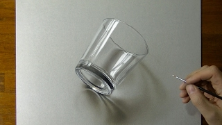 Drawing of a simple glass - How to draw 3D Art