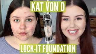 getlinkyoutube.com-First Impressions | Kat Von D Lock-It Foundation (Oily/Acne)