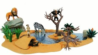 getlinkyoutube.com-Schleich NEW 2016 Watering Hole Animal Figurines Lion Zebra Wildlife