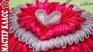 getlinkyoutube.com-Подвеска Сердце Канзаши / Видео урок Куликовой / St. Valentine Kanzashi