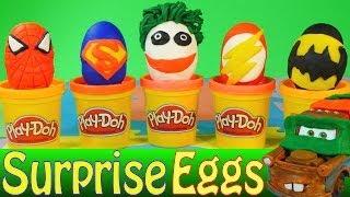 getlinkyoutube.com-Play Doh Surprise Eggs Superhero Kinder Surprise Batman Joker Superman Spiderman Flash Cars 2 Toys