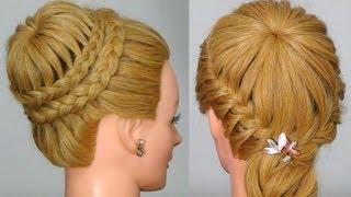 "getlinkyoutube.com-Прическа с плетением ""Снежинка"" / ""Паутинка""!  Crown Braid. Updo Hairstyles"