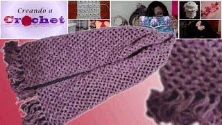 getlinkyoutube.com-Bufanda sencilla en cadenetas y medios puntos (punto de red) -Tutorial de tejido crochet
