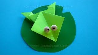 getlinkyoutube.com-Origami Frosch falten mit Papier - Einfache Tiere basteln mit Kindern