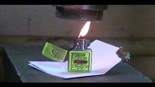 getlinkyoutube.com-burning Zippo vs Hydraulic Press