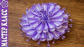 getlinkyoutube.com-Крашеный цветок Канзаши / Kanzashi by Kulikova