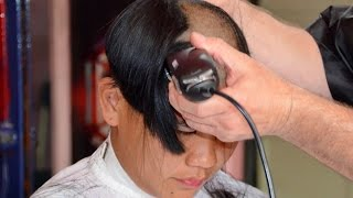 getlinkyoutube.com-Girl barbershop long hair to bald
