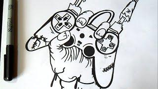 getlinkyoutube.com-Comment dessiner  main un zombi | Graffiti