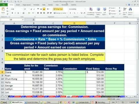Excel 2010 Business Math 51: Commission Rates as Incentive Pay, Calculate Commission on Sales