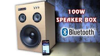How to make 100W Bluetooth Speaker Box from Cardboard width=