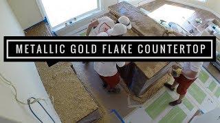 Countertop coating with Gold Metallic Flakes using Leggari Products.