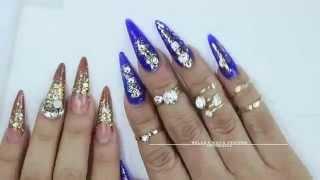 getlinkyoutube.com-Nail set Royal Blue - Stilettos
