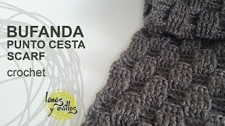 getlinkyoutube.com-Tutorial Bufanda Crochet o Ganchillo Punto Cesta