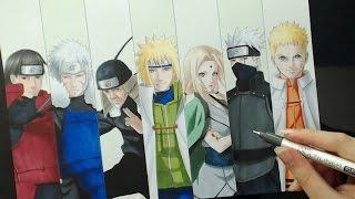 getlinkyoutube.com-Speed Drawing - 7 HOKAGES (Naruto)