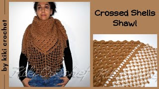 getlinkyoutube.com-Crochet Crossed Shell Stitch Shawl (pt1)