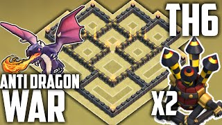 getlinkyoutube.com-Clash of Clans BEST TH6 WAR BASE! 2 AIR DEFENSES! (Town Hall 6 War/Trophy Base) Anti Dragon Layout