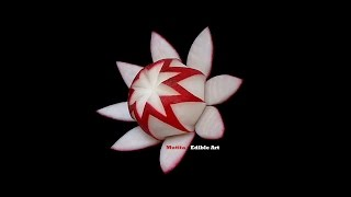 getlinkyoutube.com-Simple Red Radish Waratah Flower Design - Lesson 21 By Mutita Art Of Fruit And Veg Carving