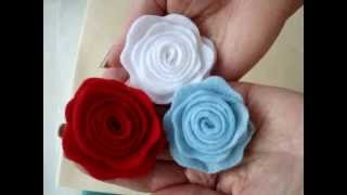 getlinkyoutube.com-LITTLE FELT ROSE, fabric flower # 6, Fashions by Carlitto.