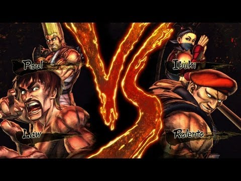 Street Fighter x Tekken Law & Paul vs Rolento & Ibuki (HD 1080p)