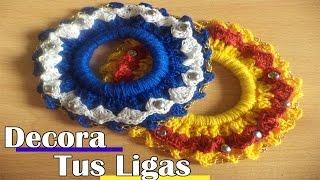 Liga Tejida a Crochet - Como Decorar Tus Ligas Para el Cabello Paso a Paso