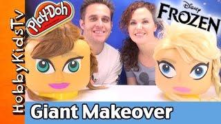 getlinkyoutube.com-GIANT Lego Head FROZEN ELSA + ANNA Play-Doh Makeover! Surprise Toys by HobbyKidsTV