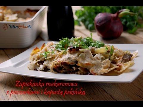 Zapiekanka makaronowa z pieczarkami i kapustą pekińską