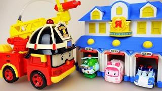 getlinkyoutube.com-Robocar Poli Roy Fire truck car toys and Tobot fire truck
