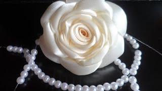 getlinkyoutube.com-hand made : Роза из атласной ленты / D.I.Y. Rose of Satin ribbon