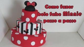getlinkyoutube.com-Como fazer Bolo fake Minnie passo a passo