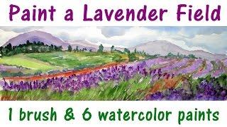 Lavender Field watercolor beginner landscape tutorial
