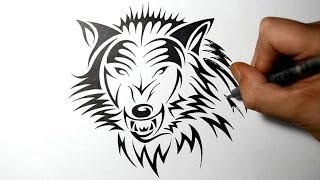 getlinkyoutube.com-How to Draw a Fierce Wolf - Tribal Tattoo Design Style
