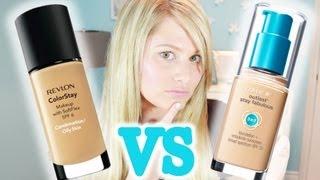 getlinkyoutube.com-Oily Skin? CoverGirl 3 in 1 VS Revlon Colourstay Foundation!