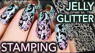 getlinkyoutube.com-Jelly + Glitter Stamping elegant nail art