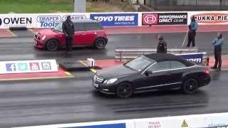 MINI COOPER S vs Mercedes E350 convertible 1/4 Mile Drag Race