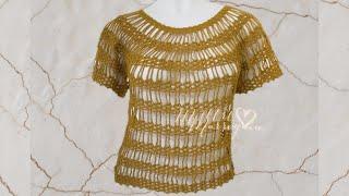 getlinkyoutube.com-Blusa Lazos de Cadenas Crochet