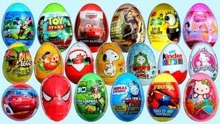 getlinkyoutube.com-19 Surprise Eggs, Kinder Surprise Cars 2 Mickey Mouse Spongebob Disney Pixar