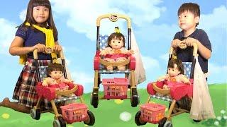 getlinkyoutube.com-ぽぽちゃん お買い物ベビーカー お道具  おもちゃ おままごと Baby Doll Popochan Stroller Toy