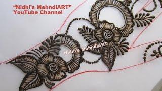 getlinkyoutube.com-Unique DIY Floral Back Hand Henna Mehndi Design Tutorial