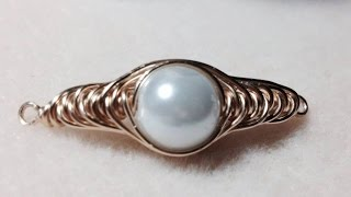 getlinkyoutube.com-(Tutorial) Herringbone Wire Wrapped Pearl PART 1 (Video 75)